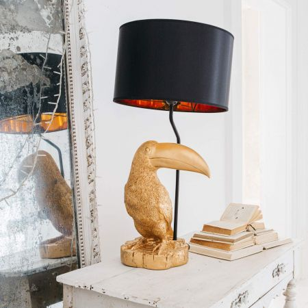 Tommy Toucan Gold Lamp with Shade