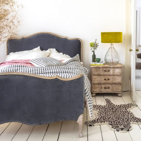 Evelyn Grey Velvet King Size Bed