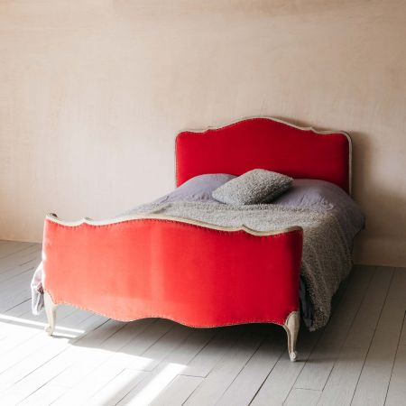 Evelyn Coral Velvet King Size Bed