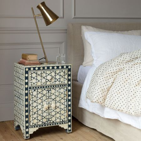Jupiter Star Bone Inlay Bedside Table