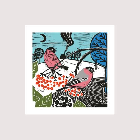 Set of Eight Bullfinches and Berries Christmas Cards