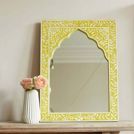 Mandir Yellow Bone Inlay Mirror