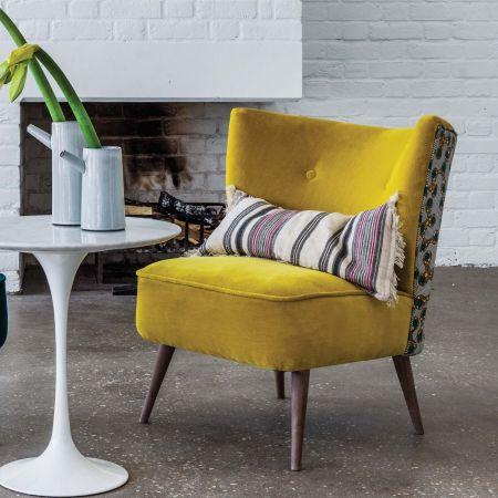 Alpana Printed Yellow Velvet Cocktail Chair