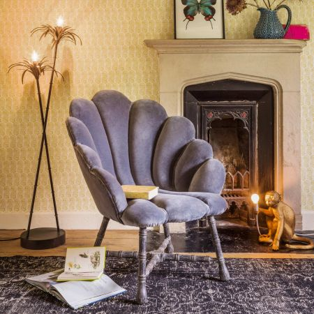 Ariel Grey Velvet Shell Chair