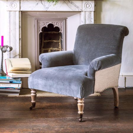 Bella Grey Velvet Armchair