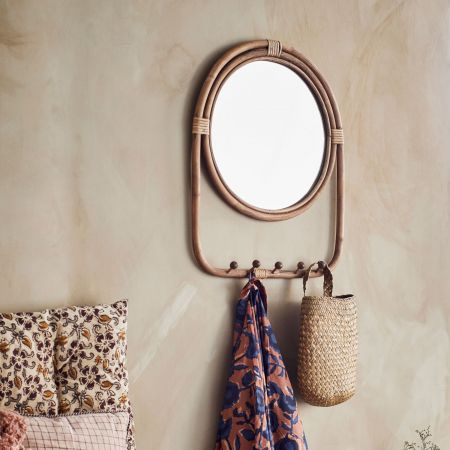 Rattan Mirror with Hooks