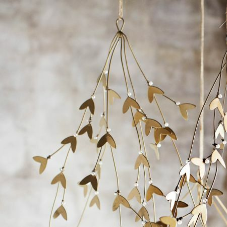 Gold Mistletoe Hanging Decoration