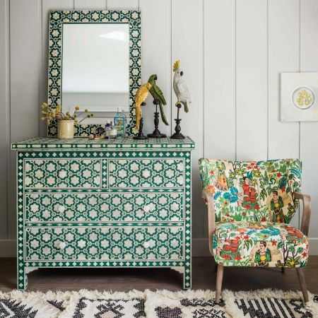 Jade Green Floral Bone Inlay Chest of Drawers