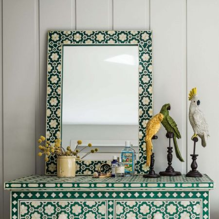 Large Jade Green Floral Bone Inlay Mirror
