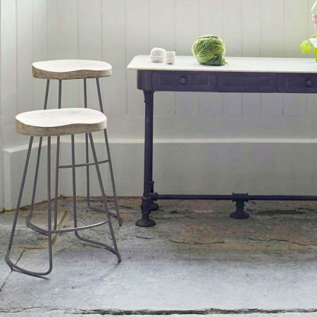 Wood And Iron Stools
