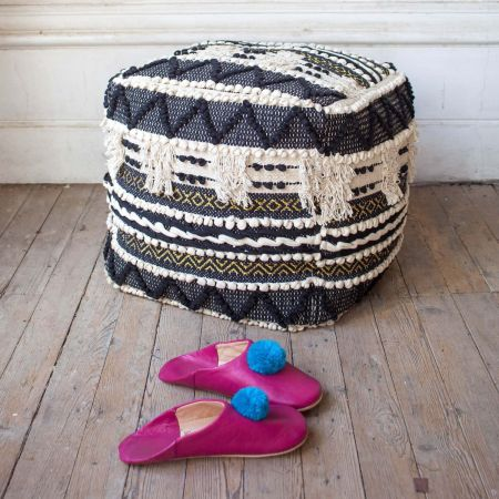 Sienna Black and White Bobble Pouffe - Thumbnail