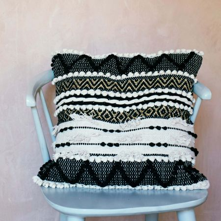 Sienna Square Black and White Bobble Cushion - Thumbnail
