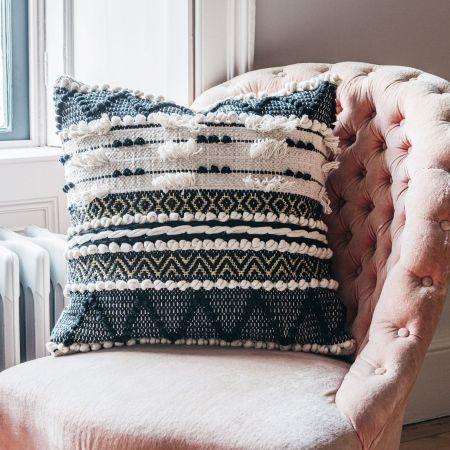 Sienna Square Black and White Bobble Cushion