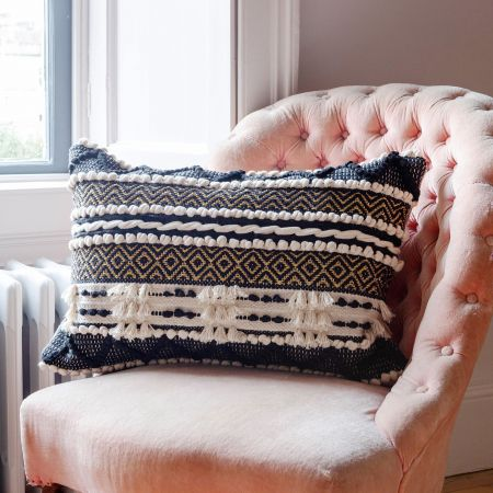 Sienna Rectangular Black and White Bobble Cushion