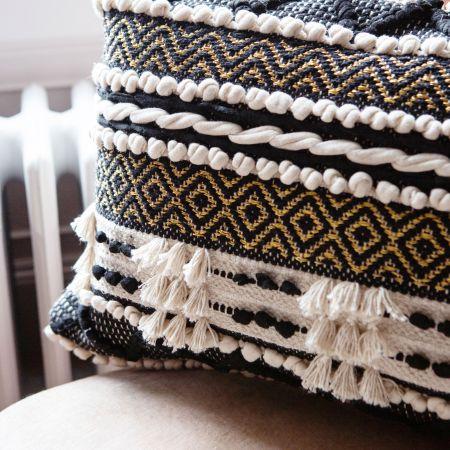 Sienna Rectangular Black and White Bobble Cushion