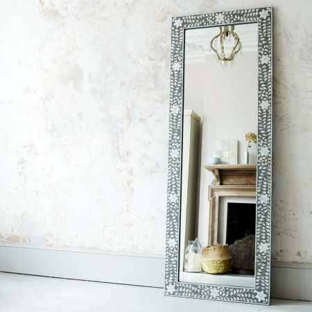 Classic Grey Mother of Pearl Floor Mirror