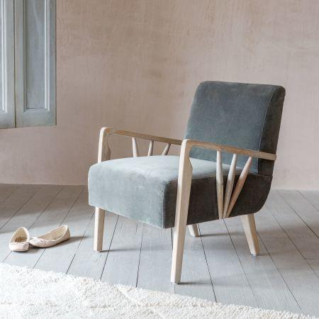 Braun Grey Velvet Armchair