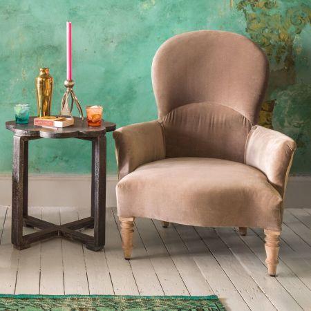 Effy Grey Velvet Armchair