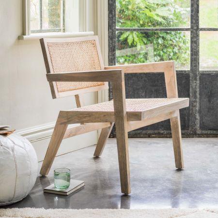 Florentine White Cane Armchair