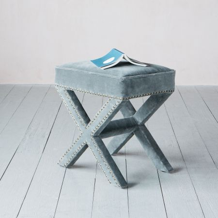 Gaucho Grey Velvet Stool