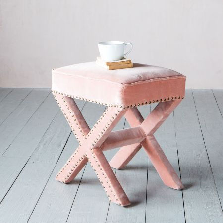Gaucho Blush Velvet Stool
