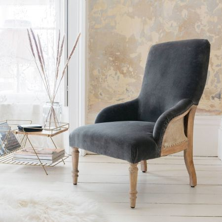 Deconstructed Grey Velvet Chair