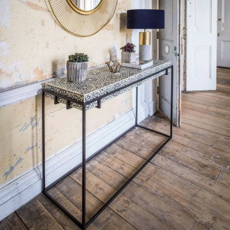 Miles Black and White Bone Inlay Console Table - Thumbnail