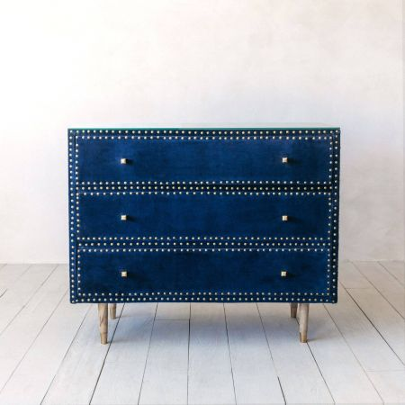 Eleonora Sapphire Blue Velvet Chest of Drawers