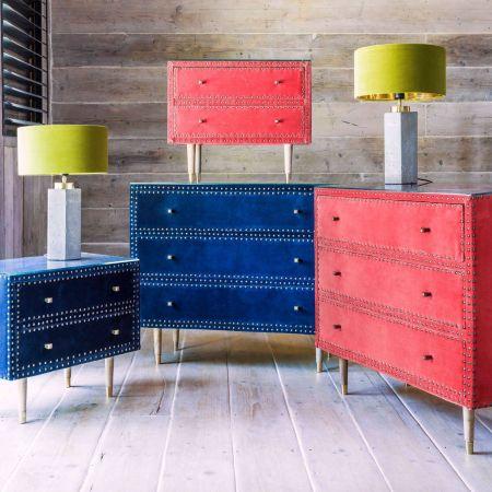 Eleonora Sapphire Blue Velvet Bedside Table