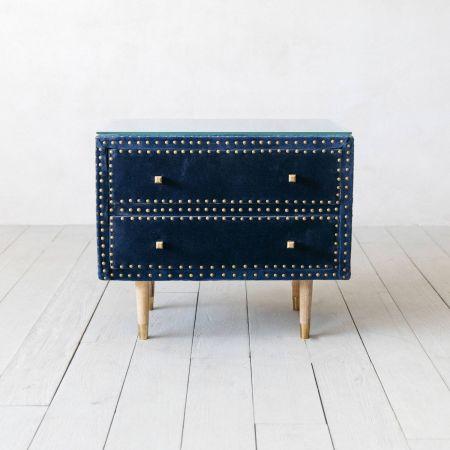 Eleonora Sapphire Blue Velvet Bedside Table - Thumbnail