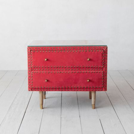 Eleonora Coral Velvet Bedside Table