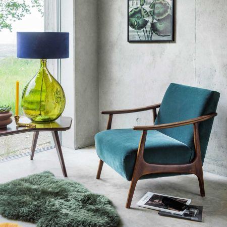 Teal Velvet Upholstered Armchair