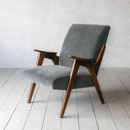 Brando Grey Velvet Armchair