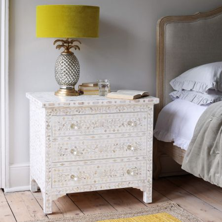 Classic White Mother of Pearl Large Bedside Table