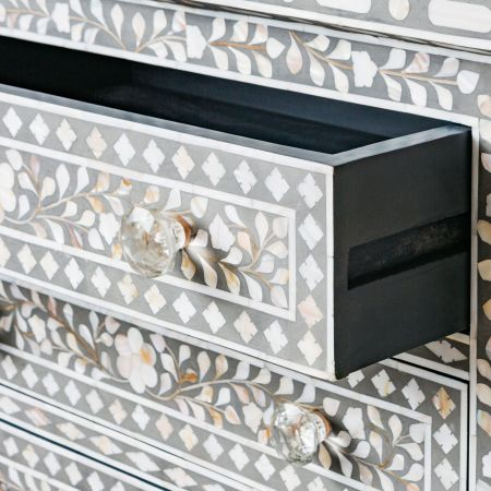 Classic Grey Mother of Pearl Large Bedside Table