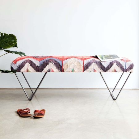 Karim Recycled Cotton Upholstered Bench