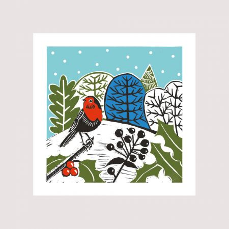 Set of Eight Country Robin Christmas Cards