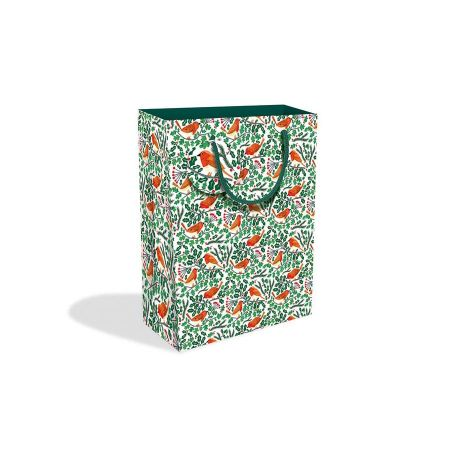 Large Robins and Holly Gift Bag