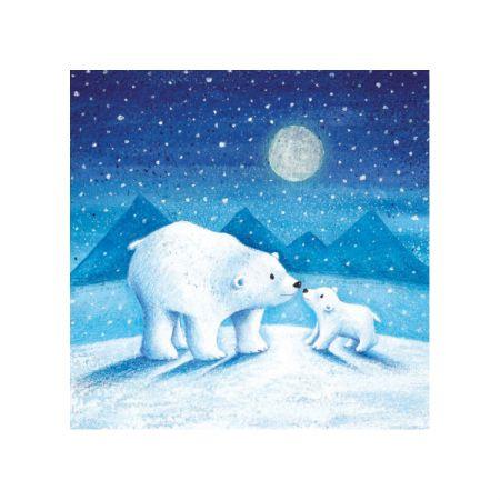 Set of Six Moonlit Polar Bear Christmas Cards