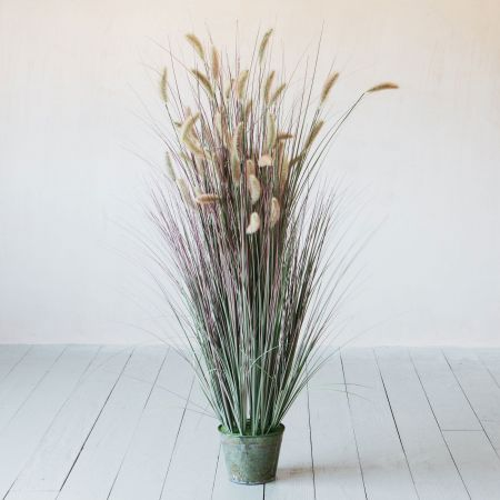 Faux Grass in Galvanised Pot