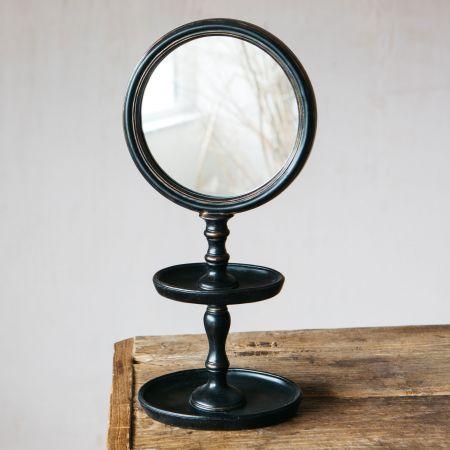 Black Framed Mirror on Stand