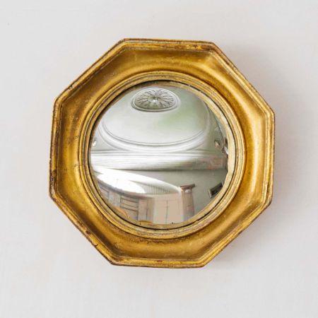 Gold Octagonal Convex Mirror