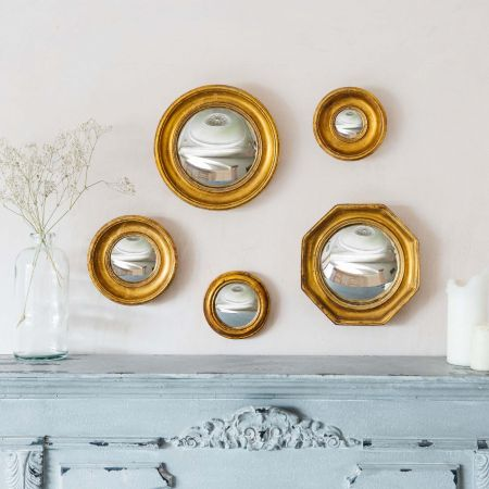 Gold Convex Wall Mirrors