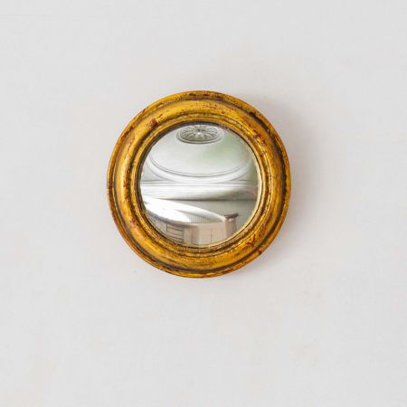 Small Gold Rounded Convex Mirror
