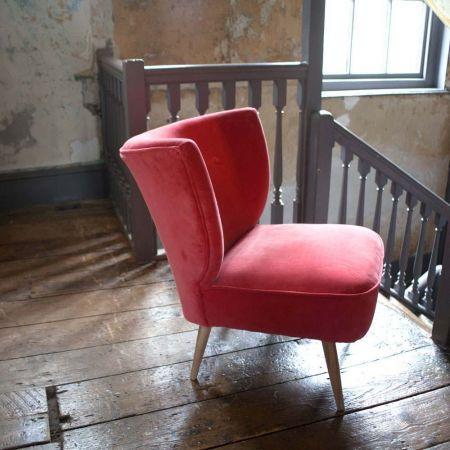 Alpana Coral Velvet Cocktail Chair