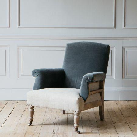 Stanley Deconstructed Velvet and Linen Armchair