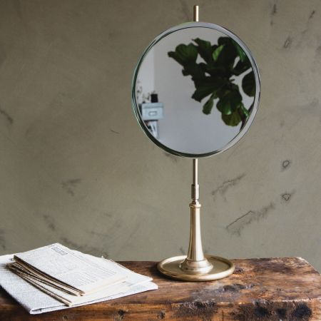Round Mirror on Brass Stand