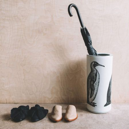 Ceramic Penguin Umbrella Stand