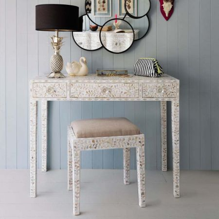 Maxi White Mother of Pearl Console Table