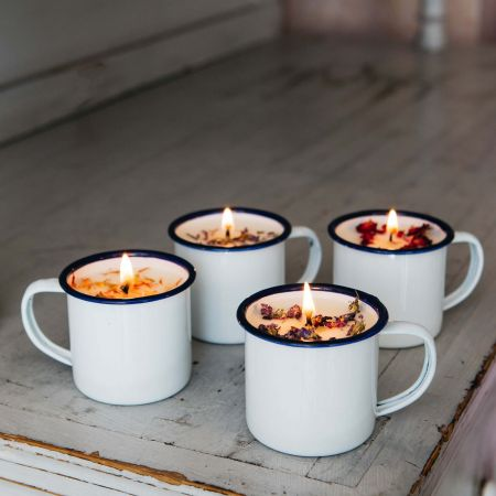 Wild Rose Enamel Mug Candle